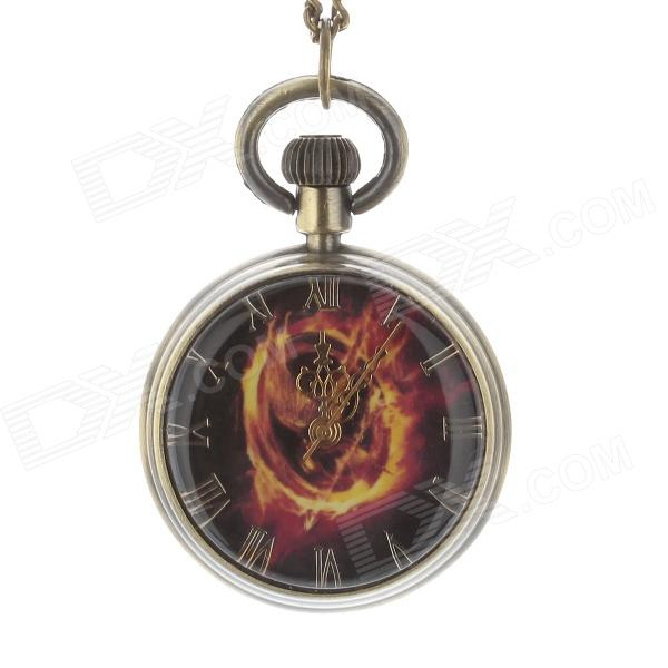 Retro Flame Ball Style Unisex Necklace Analog Quartz Pocket Watch - Bronze + Red + Yellow (1 x 377S)