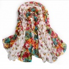 Women's Autumn / Winter Rural Style Floral Warm Scarf  - White