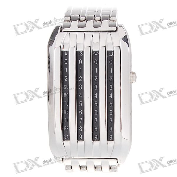 44-LED 3-Color-Light Mens Stainless Steel Wrist Watch with Weekday Display