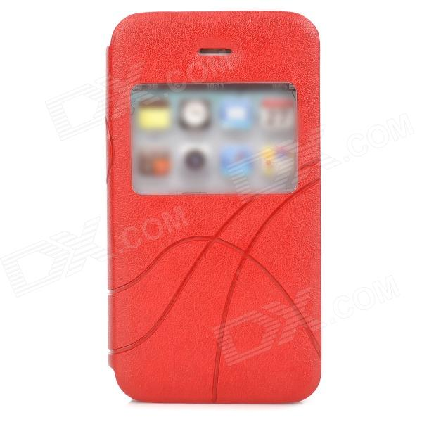 Stylish Protective PU Leather Case w/ Display Window for Iphone 4 / 4S - Red remax protective flip open pu leather case w visual window for iphone 4 4s white