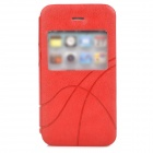 Stylish Protective PU Leather Case w/ Display Window for Iphone 4 / 4S - Red