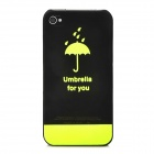 Umbrella Pattern Glow-in-the-Dark Protective PVC Back Case for Iphone 4 / 4S - Translucent Black