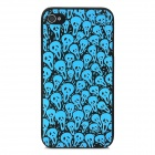 Ghost Pattern Glow-in-the-Dark Protective PVC Back Case for Iphone 4 / 4S - Black + Blue