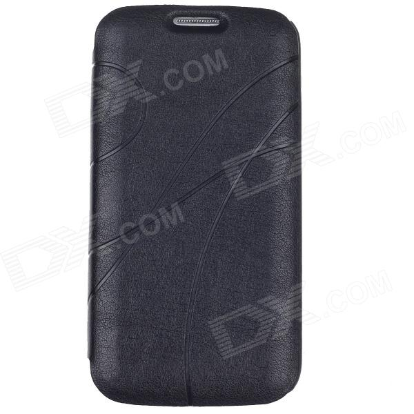 Stylish Protective PU Leather Case Cover for Samsung Galaxy S4 i9500 - Black cloth style protective pu leather cover plastic back case stand for samsung galaxy s4 i9500 black