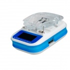 "Universal 1.1"" LCD Phone Battery Charger w/ USB Port - Blue + White (2-Flat-Pin Plug / AC 100~240V)"