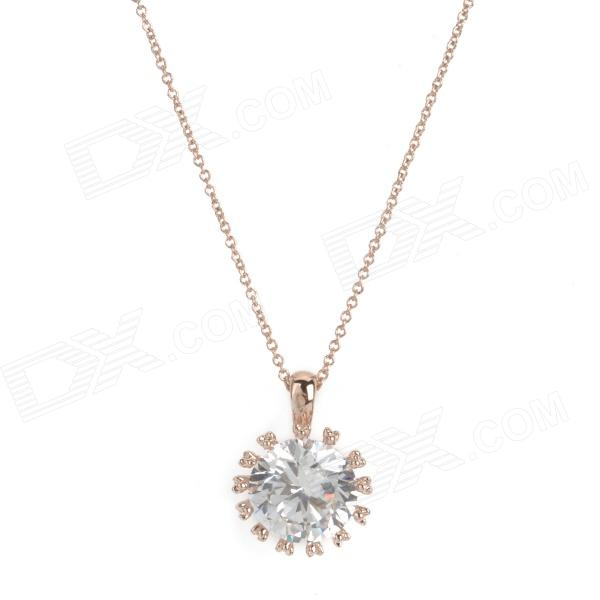 KCCHSTAR 18K Zinc Alloy Chain Crystal Pendant Necklace for Women - Golden elegant crystal drill zinc alloy chain pendant necklace for women golden translucent white