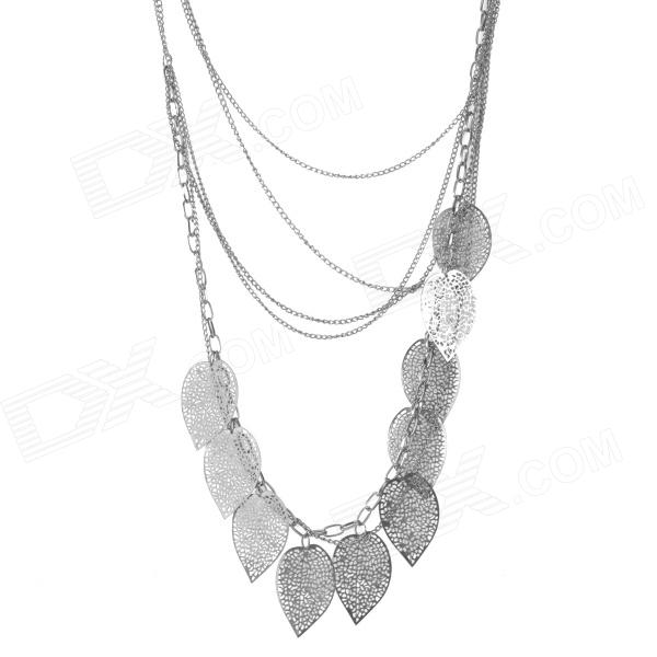 Fashionable All-match Leaf Style Tassels Silver-plated Alloy Necklace - Black