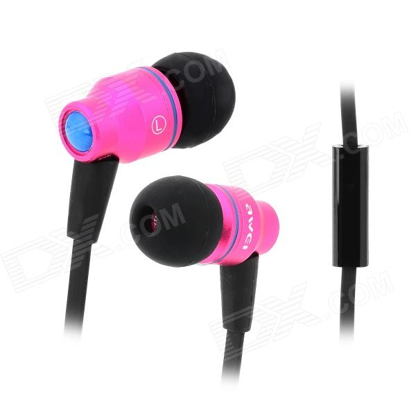 AWEi TE 800i In-Ear Earphones w/ Mic for Samsung Galaxy Note 2 N7100 / S3 / S4 i9500 - Deep Pink