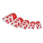 J-1039 3D Heart Style Crystal Decorative Nail Tip w/ Glue - Red + White (24 PCS)