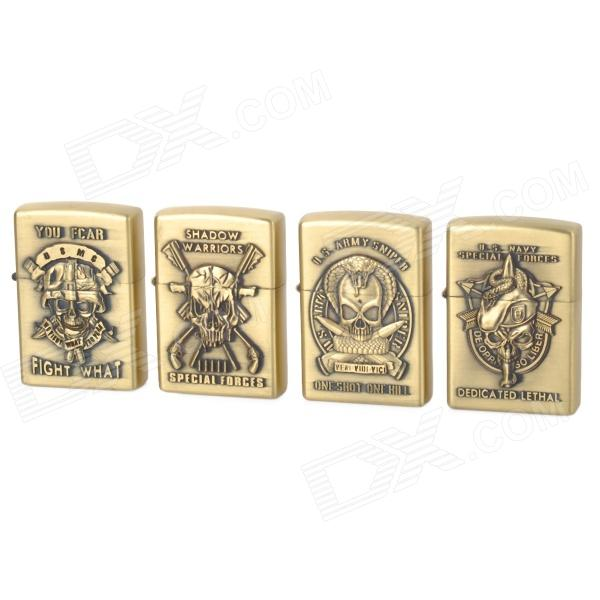 LiTian 01A Stylish Skull Pattern Zinc Alloy Kerosene Gas Lighters Set - Bronze (4 PCS)