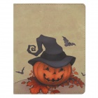 Hat Pumpkin Pattern Protective PU Leather Case Cover Stand for Ipad 2 / 3 / 4 - Orange + Grey