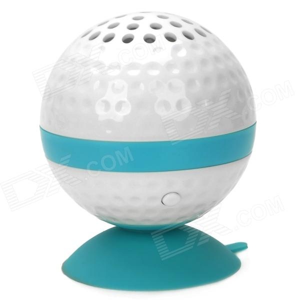 KHF301 Mini Golf Ball Shape Bluetooth V3.0 Music Speaker - Blue + White golf ball sample display case