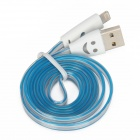 Colorful Visible Lightning 8-Pin Male to USB Data Sync / Charging Cable for iPhone 5 - Blue + White