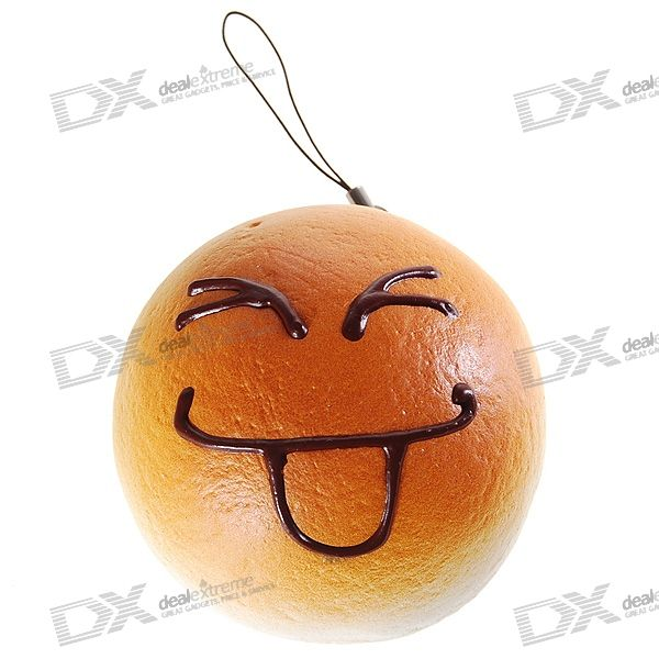 Realistic Cake Cell Phone Strap with Bread Fragrance (Assorted Smiling Face) realistic cake cell phone strap with bread fragrance assorted smiling face