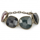 Irregular Large Diamond Style Resin + Copper Women's Bracelet - Bronze + Black + Green