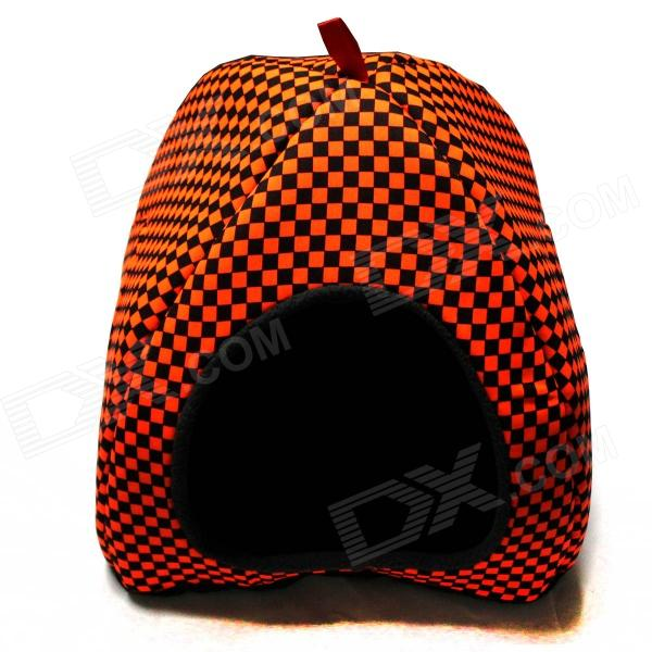 Folding Grid Pattern Pet Dog Cat Nest - Orange + Black + Brown pet carrier bag for cat dog medium size brown