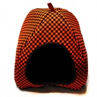 Folding Grid Pattern Pet Dog Cat Nest - Orange + Black + Brown