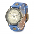 523-14 Skull Pattern Zinc Alloy PU Band Digital Analog Wrist Watch for Women - Blue + Bronze