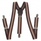Fashionable Elastic Clip-on Adjustable Suspenders Braces - Brown + White + Black (Width 2.5cm)