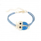 Euramerican Fashionable Owl Style Zinc Alloy Bracelet - Blue + Golden