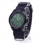 ORKINA W012 Stylish Men's Canvas Band Quartz Wrist Watch w/ Simple Calendar - Black (1 x LR626)
