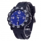 ORKINA W004 Fashionable Rubber Band Quartz Analog Wrist Watch for Men - Black + Blue (1 x LR626)