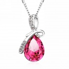 eQute PCOW3C4 Water-Drop Pendant Necklace - Deep Pink + Silver (48cm)