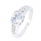 KCCHSTAR 18K Vergoldung High-Quality Carat Ring w / Artificial Diamond - Silver (US-Größe-8)