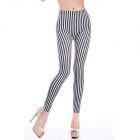 LC79233 Fashionable Women's Stripes Leggings - Black + White (Free Size)