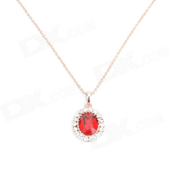 KCCHSTAR alta calidad 18K Zinc Alloy Crystal w / Rhinestone Pendant Necklace - Red + Oro