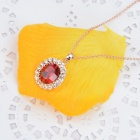 KCCHSTAR High-quality 18K Zinc Alloy Crystal w/ Rhinestone Pendant Necklace - Red + Golden