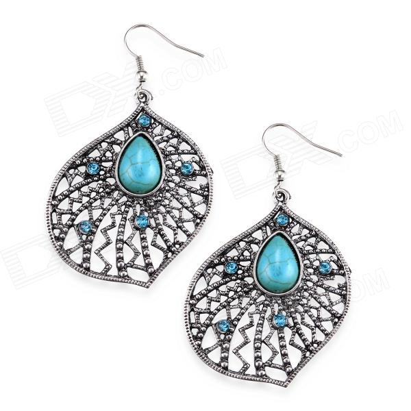 eQute EPEW18C1 Luxurious Elegant Turquoise Big Flower Earrings - Silver + Blue (Pair) equte epew22h1 fashionable vintage turquoise dangle earrings green silver pair