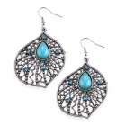 eQute EPEW18C1 Luxurious Elegant Turquoise Big Flower Earrings - Silver + Blue (Pair)