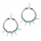 eQute ESSW2C1 Big Coil with Steeple Head Rivet Turquoise Beads Earrings - Silver + Blue (Pair)