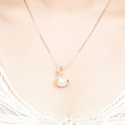 KCCHSTAR 18K Gold Plating Zinc Alloy Pearl Necklace w/ Artificial Diamond Pendant - Golden + Silver