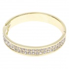 Fashionable Simple Round Style Zinc Alloy Bracelet w/ Shiny Rhinestone - Golden + Silver