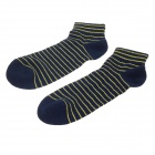 Fashionable Men's Striped Style Socks - Blue + Yellow (Pair)