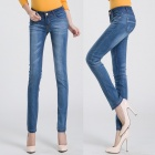 2209 Fashionable Trend Sexy Flower Leg Opening Jeans - Blue (Size-28)