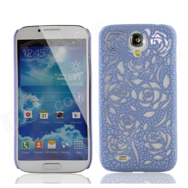 Stilvolle Newton Hohle Rose Muster Protective PC zurück Fall für Samsung Galaxy S4 - Sky blue