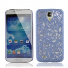 Stylish Newtons Hollow Rose Patterns Protective PC Back Cover Case for Samsung Galaxy S4 - Sky blue