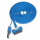 Flat 30-Pin Male to USB 2.0 Data Sync / Charging Cable for iPhone 4 / 4S / iPad 2 / 3 - Blue (200cm)