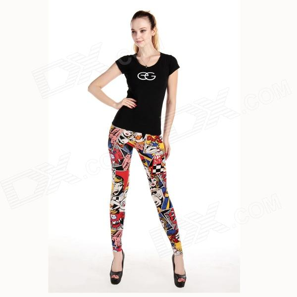 LC79283 Cartoon Style Fashion Girl Sexy Leggings - Multicolored (Free Size)