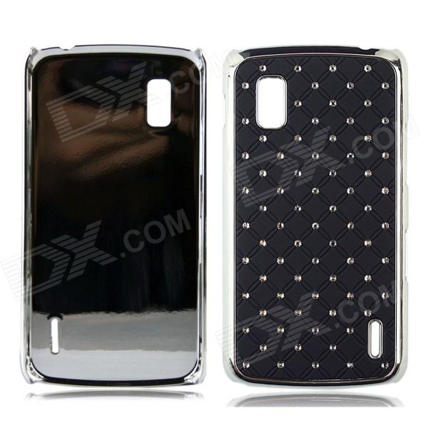 Stylish Inlaid Sparkling Crystal PC Back Case for  for LG Nexus4 E960 - Black + Silver free shipping over knee wedge boots women snow fashion winter warm footwear shoes boot p15323 eur size 34 39