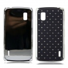 Stylish Inlaid Sparkling Crystal PC Back Case for  for LG Nexus4 E960 - Black + Silver