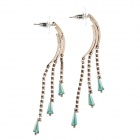 Elegant Charming Tassel Style Women's Earrings w/ Rhinestone Decorated - Green + Golden (Pair)