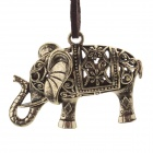Retro Elephant Pendant Long Necklace for Women - Bronze