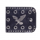 Stylish PU Leather Eagle Style Folding Men's Wallet - Black + Silver