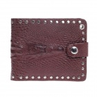 Stylish PU Leather Crocodile Style Folding Men's Wallet - Deep Brown + Silver