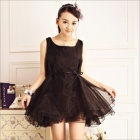 Fashionable Cute Women's Sleeveless Super Fluffy Dress - Black (Free Size)
