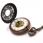 ZY-101 Retro Zinc Alloy Hollow out Mechanical Pointer Pocket Watch - Purple Bronze